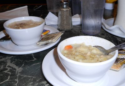 Excellent soup at the Starting Gate restaurant in Auburn, Washington.