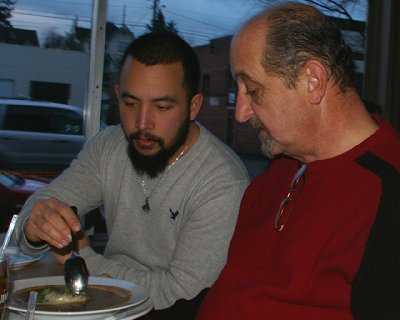 Sean and Donn eating the Irish Onion Soup from The Copper Hog restaurant in Bellingham, Washington.