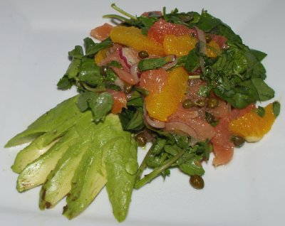 The Salmon Citrus Salad from The Copper Hog restaurant in Bellingham, Washington.