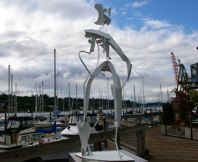 One of the many pieces of art in downtown Olympia, Washington.