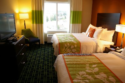 A double queen suite at the Fairfield Inn & Suites in Puyallup, Washington.
