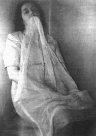 A newspaper photograph of ectoplasm from the book Spook by Mary Roach.