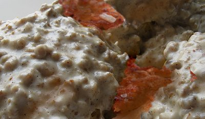 Biscuits and gravy with hashbrowns for Knapps Restaruant in the Proctor District of Tacoma, Washington.