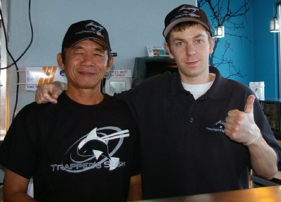 Excellent shushi maker Luke and another sushi chef at Sushi Town/Trapper Sushi in Puyallup, Washington.