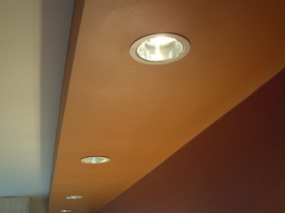 Recessed lighting in the bedroom at the Fairfield Inn & Suites in Puyallup, Washington.