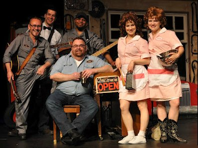 The cast of Pump Boys and Dinettes at the Renton Civic Theatre in Renton, Washington.