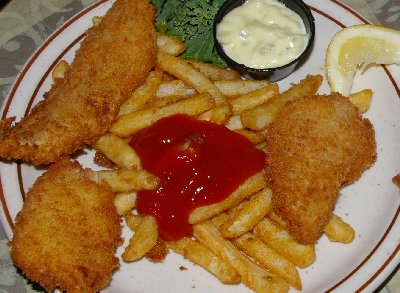 Fish and Chips from Charlies Restaurant in Puyallup, Washington.