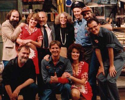 The original cast and crew from Pump Boys and Dinettes.