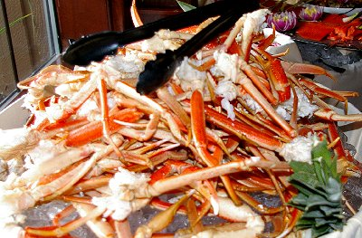 Crab legs from brunch at Shenanigans waterfront restaurant along Ruston Way in Tacoma, Washington.