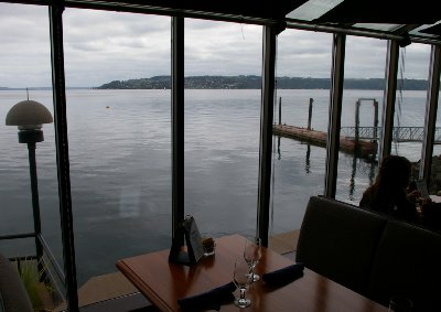The view from Shenanigans waterfront restaurant along Ruston Way in Tacoma, Washington.