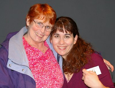 Peg Doman and performer Melaine Gall at the Seattle Fringe Festival in Seattle, Washington.